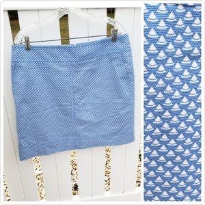 🆕 Talbots Light Blue White Spring Pencil Skirt 12